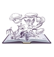 Open book with an Fantasy Elf Woman vector image