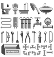 Plumbing colour icons set vector image