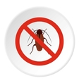 Prohibition sign bugs icon flat style vector image