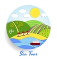 Sea Tour eco emblem vector image