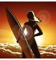 Surfer girl on a beach vector image