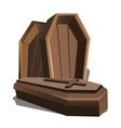 Wooden coffin with cross isolated vector image