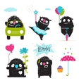 Set of funny kids black monsters activities for vector image