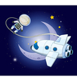 A young explorer near the moon vector image
