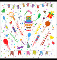 birthday party symbols collection vector image