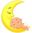 Cute baby cartoon sleeping on the moon vector image vector image