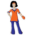Housewife with Anti-heat Glove vector image