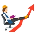 Business woman reading book vector image
