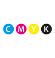 Cmyk print concept four circles in cmyk colors vector image