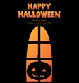 happy halloween window silhouette pumpkin shadow vector image