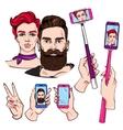 Selfie Sketches Set vector image
