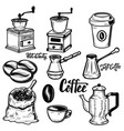 set of coffee icons on white background coffee vector image