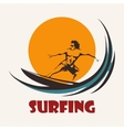 Surfing man emblem vector image