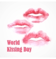 Watercolor lips World Kissing Day vector image