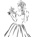 Wedding scetch Bride on a white background vector image