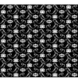 White lotus seamless pattern on black background vector image