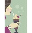 Girl drinking milkshake vector image vector image