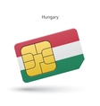 Hungary mobile phone sim card with flag vector image