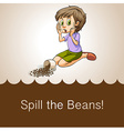 Idiom spill the beans vector image