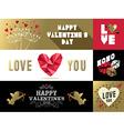 Saint Valentines retro set label banner gold pink vector image vector image
