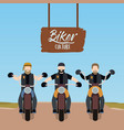 biker culture poster with motorcyclists gang vector image