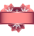 Lace flowers in the form of heart and pink ribbon vector image