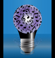Light bulb covered with music notes vector image