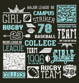 Rugby and baseball college team design elements vector image