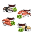 set color sketch Nigiri Sushi vector image