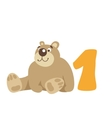 Teddy bear sitting Number 1 vector image