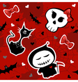 Funny halloween characters seamless pattern vector image vector image