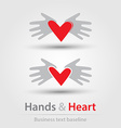 Hands and heart busines icons vector image vector image