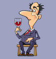 cartoon man in a suit and tie wine tasting vector image