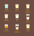 coffee to go drinks recipe set vector image