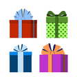 Colorful wrapped gift boxes icons vector image