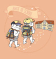 cute bear with backpack back to school vector image