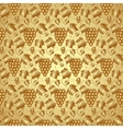 Golden Seamless Pattern with Grapes and Leaves vector image