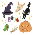 Happy Halloween set with cute objects vector image