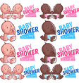 Logo template for baby shower boy girl and twins vector image