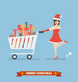 Santa woman push a shopping cart with piles of vector image