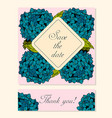 set of cards with hydrangea floral motifs vector image