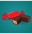 Tasty sweet chocolate candy on blue background vector image