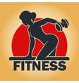 Training woman fitness emblem vector image