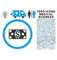 Dollar Banknote Icon with 1000 Medical Business vector image