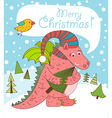 Christmas greeting card with dragon vector image