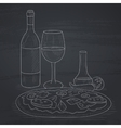 Dinner with wine and pizza vector image