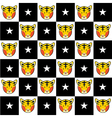 Tiger Star Black White Chess Board Background vector image