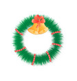 christmas wreath on door with beads and bells vector image