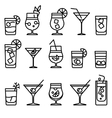 Cocktail line icons vector image