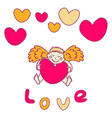 Cupid for Valentines Day with a heart in his hands vector image